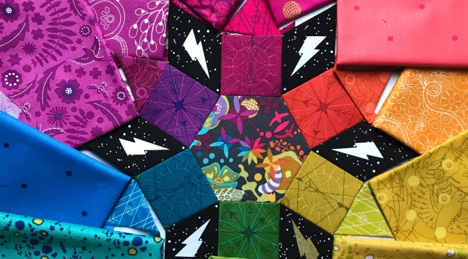 Mandolin Quilt Block Progress, My Newest Rainbow EPP