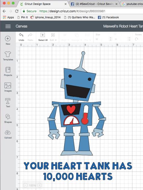 maxwell's heart tank robot cricut maker