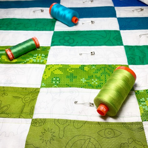 Staggered Quilt progress aurifil thread